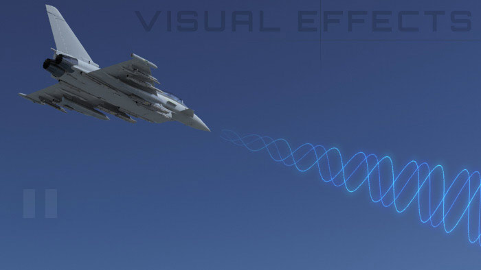 Visual effects from CG movie for aerospace