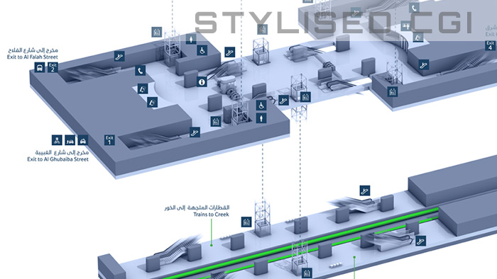 3D stylised wayfinding infographics for the Dubai Metro signage
