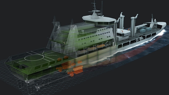 3D cutaway illustration of Aegir ship by Defence Imaging