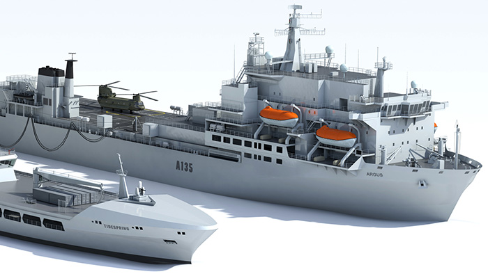 3D rendering of ships at sea
