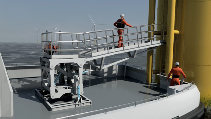 Computer generated video of offshore wind turbine access system